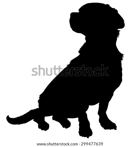 A black silhouette of a sitting mixed breed dog - stock vector