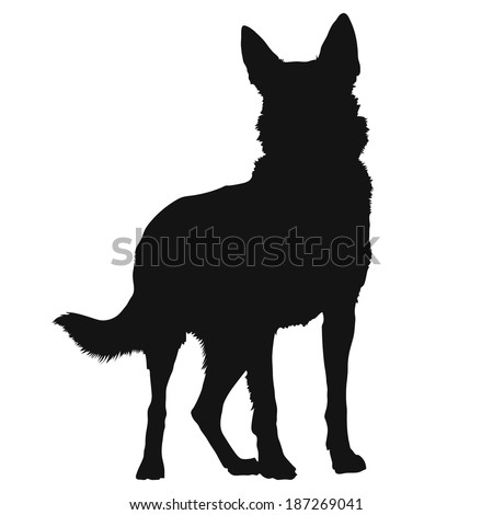 A black silhouette of a standing German Shepherd - stock vector