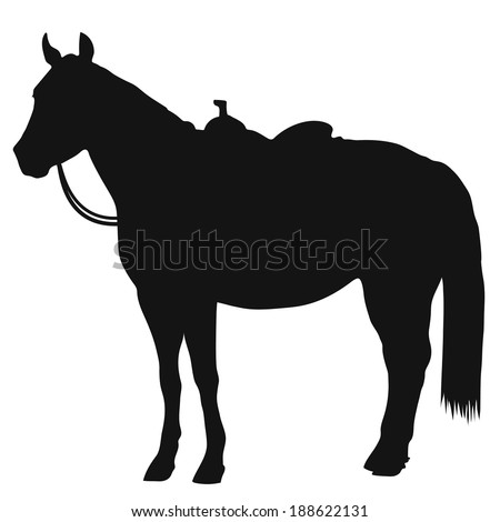 A black silhouette of a standing horse wearing a western saddle - stock vector