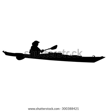 A black silhouette of a woman in a long kayak - stock vector