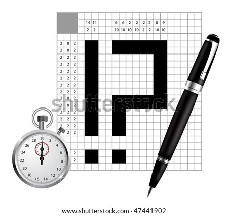 A blank of japan crossword vector with pen and stopwatch - stock vector