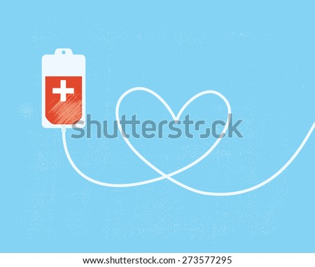 A blood donation bag with tube shaped as a heart. EPS10 vector format - stock vector