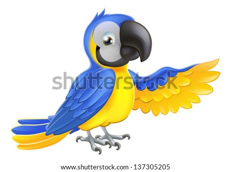 A blue and yellow macaw parrot pointing or showing something with his wing - stock vector