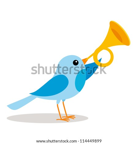 a blue bird blowing a trumpet vector - stock vector