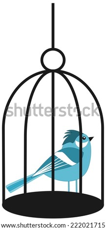 a blue bird in a cage