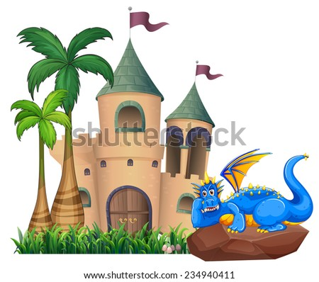A blue dragon across the castle on a white background  - stock vector