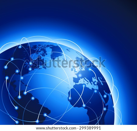 A Blue Earth Globe with Airplane Routes and highlighted cities vector illustration.