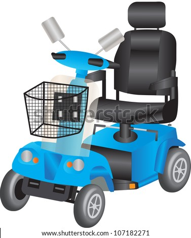 A Blue Electric Mobility Scooter for the Disabled - stock vector
