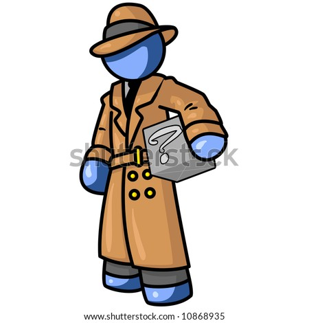 A blue man detective holding a box with something in it, but no one knows what, as shown by the question mark. - stock vector
