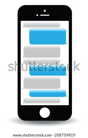 a blue mobile phone text messaging screen - stock vector