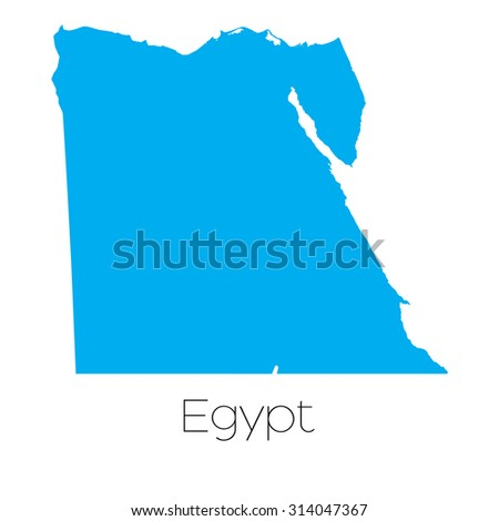 A Blue shape with name of the country of Egypt