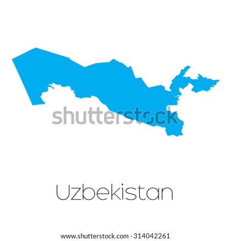 A Blue shape with name of the country of Uzbekistan