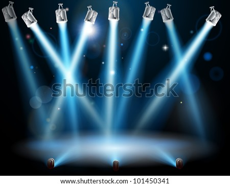 A blue spotlight background concept with lots of lights like spotlights in a light show or during a dramatic theatre stage performance - stock vector