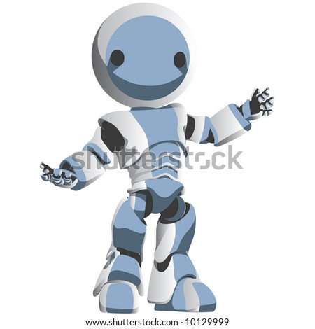 A blue toon robot gesturing in a friendly manner.