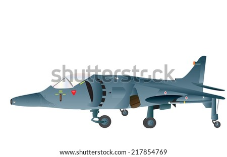 A Blue Vertical Takeoff and Landing Jet Fighter Bomber isolated on white - stock vector