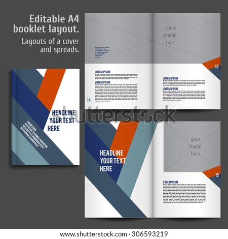 A4 book geometric abstract Layout Design Template with Cover and 2 spreads of Contents Preview. For design magazines, books, annual reports. - stock vector