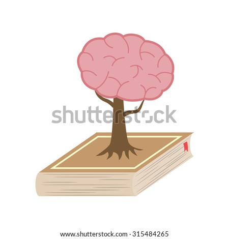 A book on brain growth - stock vector