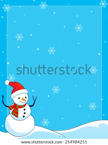 A border illustration featuring a smiling snowman with falling snow on clean blue background. snowman wearing red santa hat. - stock vector