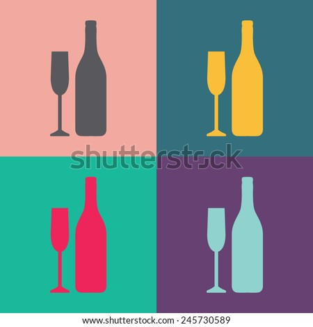 A bottle of champagne and a glass vector icon.