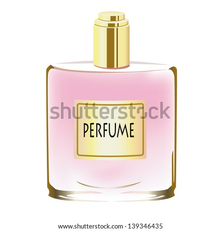 A bottle of perfume isolated on white - stock vector