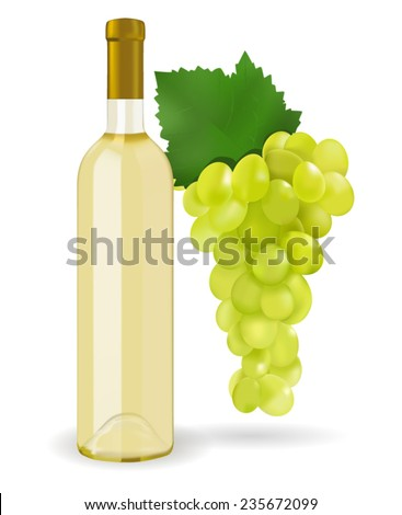 A bottle of white wine and grapes