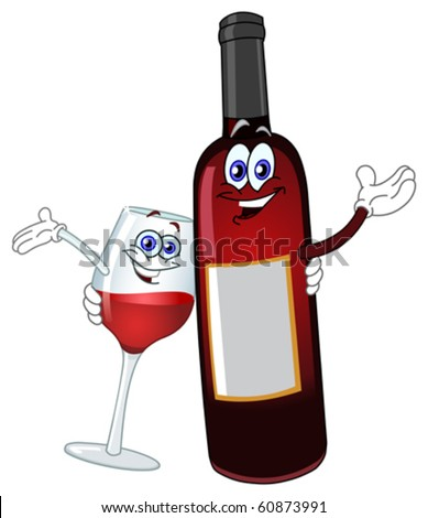 A bottle of wine and a glass hugging each other - stock vector
