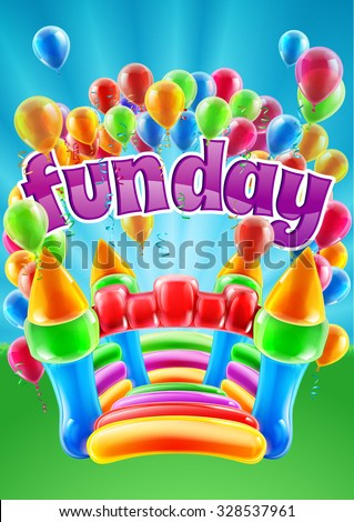 A bouncy castle and balloons funday event invite poster background design - stock vector