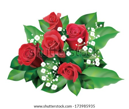 a bouquet of red roses - stock vector