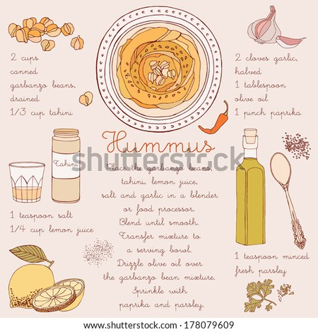 A bowl of creamy hummus with olive oil. Recipe card.