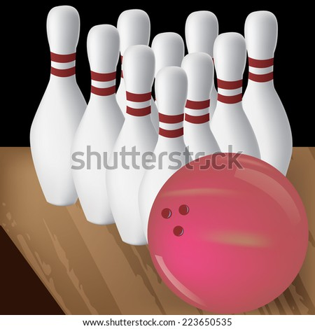a bowling ball and a group of bowling pins