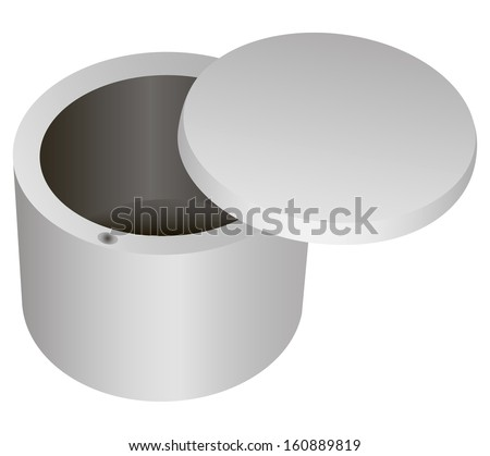 A box with a lid for storing small household items and food. Vector illustration.