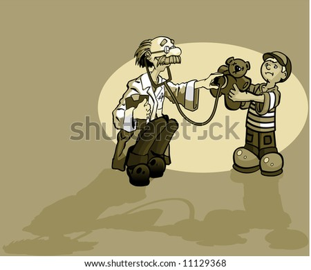 A boy and a doctor giving a teddy bear a check up. - stock vector
