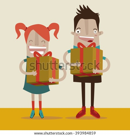 A boy and a girl holding gift boxes