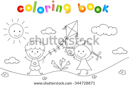 A boy and a girl playing in the meadow and launching a kite. Coloring book. Vector illustration - stock vector