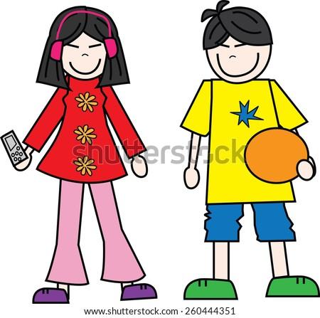 a boy and a girl teens - stock vector