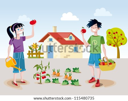 A boy and a girl working happily in a small back garden near his home picking some fruits and vegetables. - stock vector