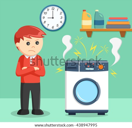 a boy angry when the washing machine is broke - stock vector