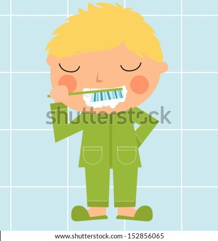 A boy brushing tooth - stock vector