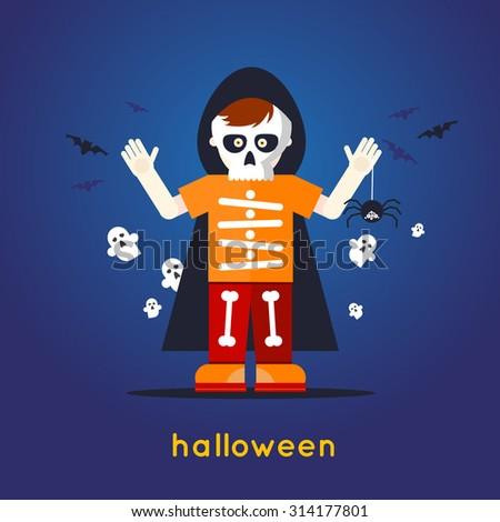 A boy dressed as a skeleton Halloween. Flat design vector illustration. - stock vector