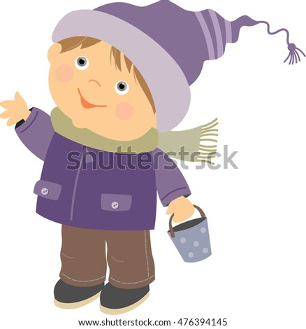 a boy in a winter jacket and a cap cartoon