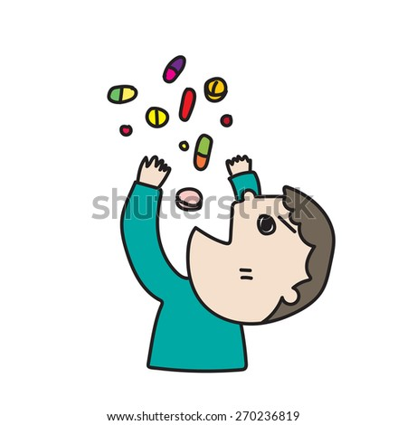 A boy is taking his medicine - stock vector
