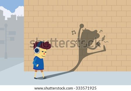A boy listening music by headphones and walking to the corner street but his shadow look like he dancing and so happy. - stock vector