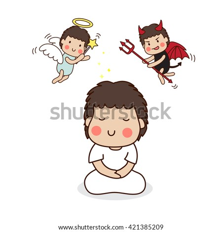 A boy meditating in white outfit with angel and devil above his head.  Vector Illustration