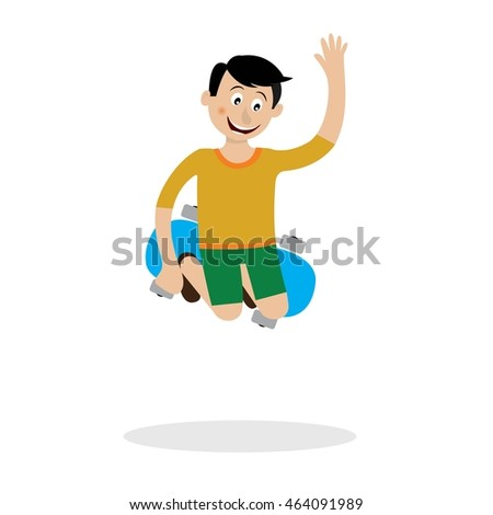 a boy on a skateboard doing a cool trick. vector illustration of cartoon