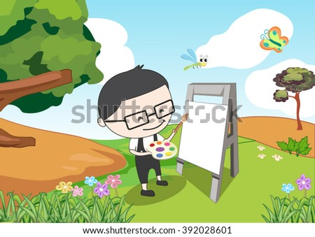 a boy painting in the garden - stock vector