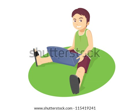 a boy playing with his laptop - stock vector