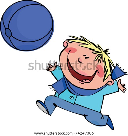 A boy plays with a big blue ball - stock vector
