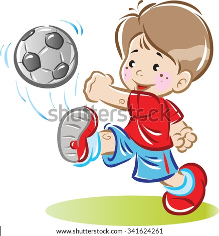 a boy plays with a soccer ball