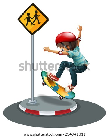 A boy skateboarding near the signage on a white background  - stock vector