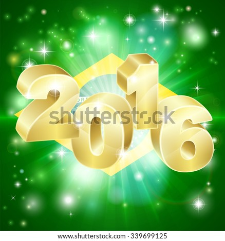 A Brazilian flag with 2016 coming out of it with fireworks. Concept for New Year or anything exciting happening in Brazil in the year 2016. - stock vector
